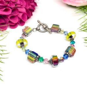 VINTAGE⚜️Multicolor Spun Glass Crystal Bracelet